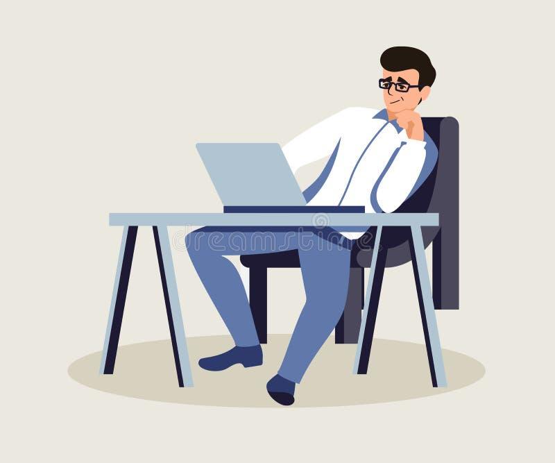 Patron dans l'illustration plate de vecteur de bureau privé illustration stock