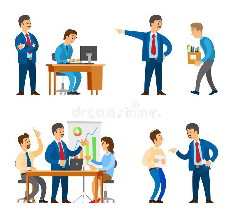Patron dans le bureau, directeur Firing Man Bad Employee illustration stock