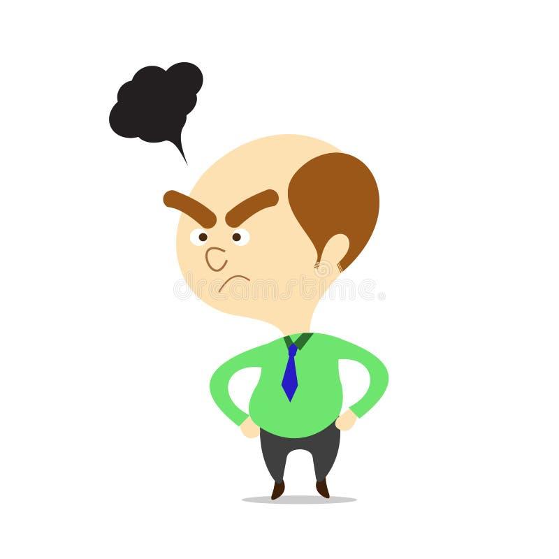 Patron de bande dessinée de vecteur semblant fâché. illustration libre de droits
