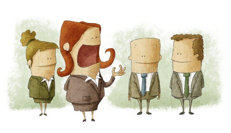 Patron de femme avec des employés illustration de vecteur