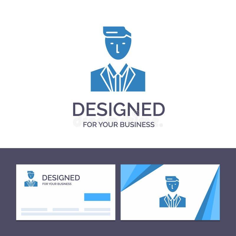 Patron de visite de calibre créatif de carte de visite professionnelle et de logo, CEO, chef, chef, M. Vector Illustration illustration libre de droits