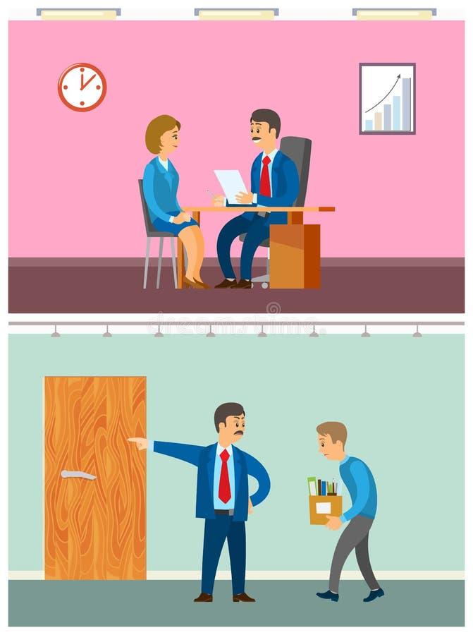 Patron Discharging Worker du devoir, entrevue de femme illustration libre de droits