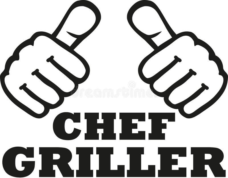 Patron du BBQ avec des pouces - Allemand illustration stock