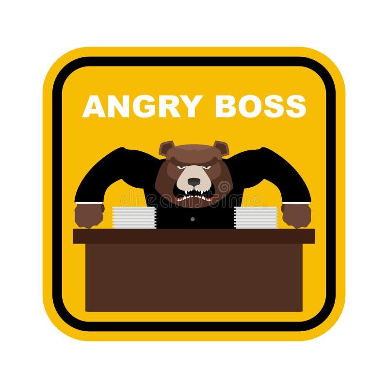 Patron effrayant d'ours Bossage fâché Bureau des FO d'autocollant Dang jaune de signe illustration stock