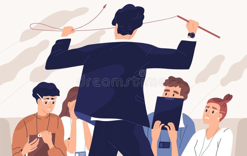 Patron en colère, illustration vectorielle à plat irate de l'enseignant Relations d'équipe, atmosphère de peur, attitude envers l illustration libre de droits