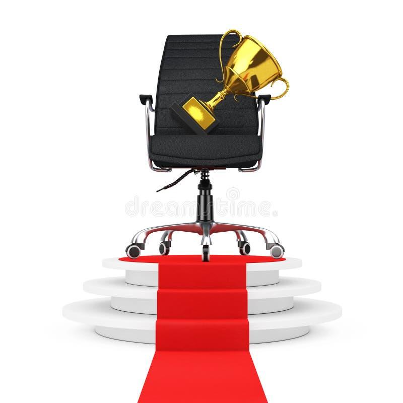 Patron en cuir noir Office Chair avec le trophée d'or au-dessus de Wh rond illustration libre de droits