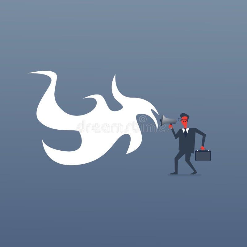 Patron fâché Business Man Screaming dans l'homme d'affaires contrarié rouge de mégaphone illustration stock