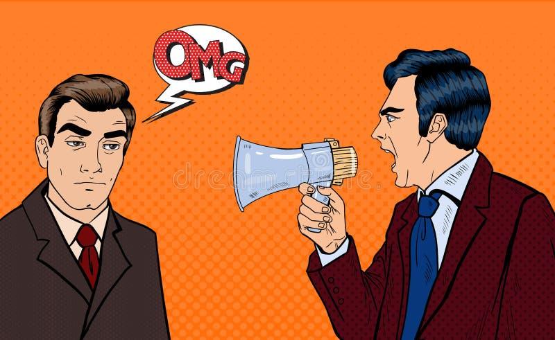 Download Patron Fâché Screaming Dans Le Mégaphone Sur L'homme D'affaires épuisé Art De Bruit Illustration de Vecteur - Illustration du headache, émotion: 76086806