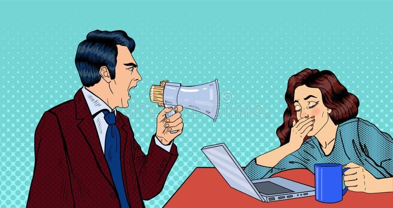Patron fâché Screaming dans le mégaphone sur la femme dans le bureau Art de bruit illustration stock