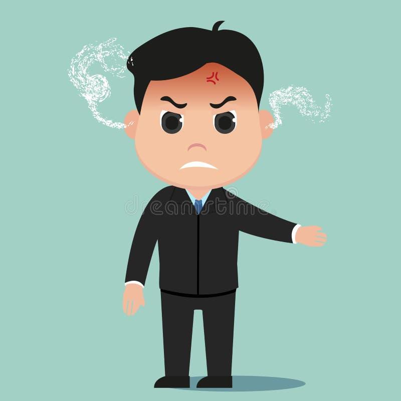 Patron fâché, vecteur fâché d'homme d'affaires illustration stock