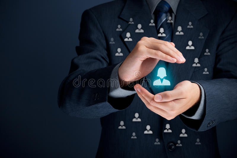 Patron and female leader. Patron, feminism; female customer care, protection, customer personalization, individual customer, CRM, social customer service stock images