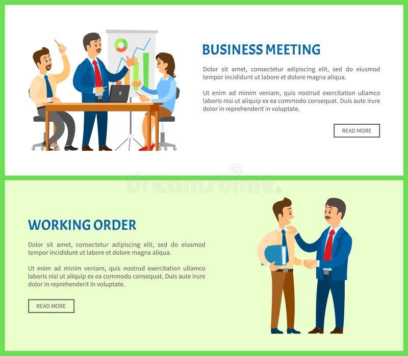 Patron Gives Info de réunion d'affaires et d'ordre d'entretien illustration libre de droits