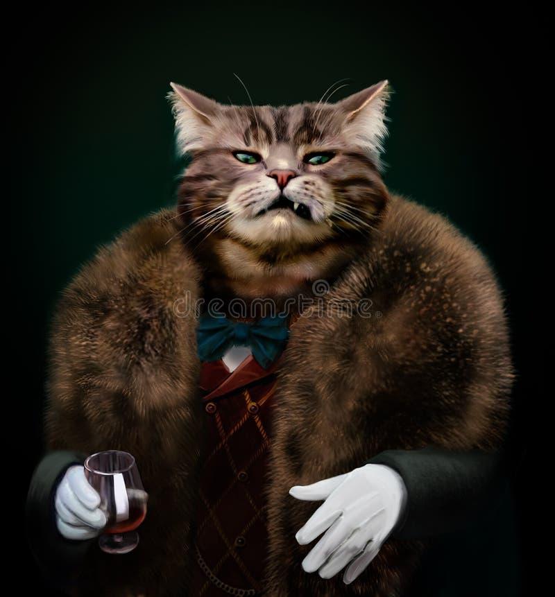 Patron habillé sophistiqué arrogant de chat regardant avec mépris image libre de droits