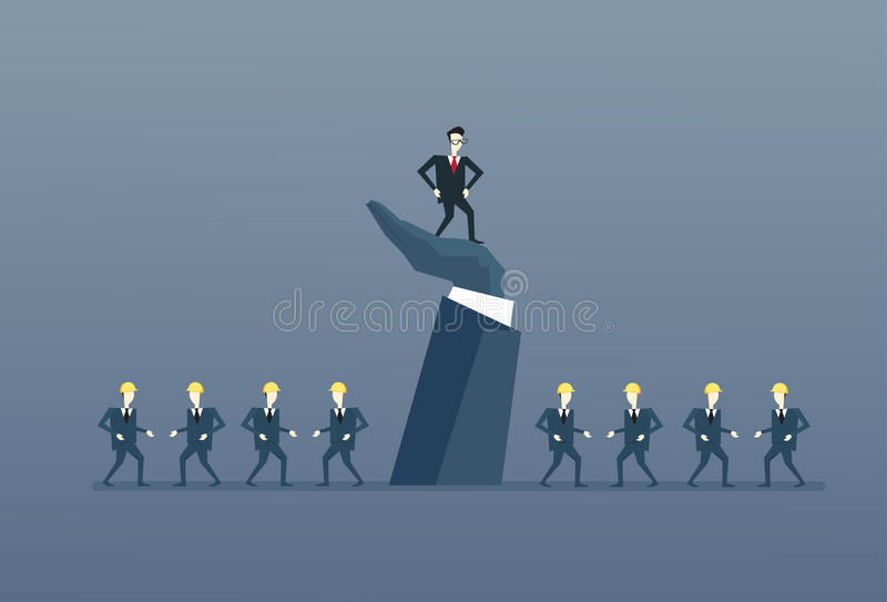 Patron Leadership Concept de groupe de With Business People du Chef de grande main de Standing Up On d'homme d'affaires illustration de vecteur