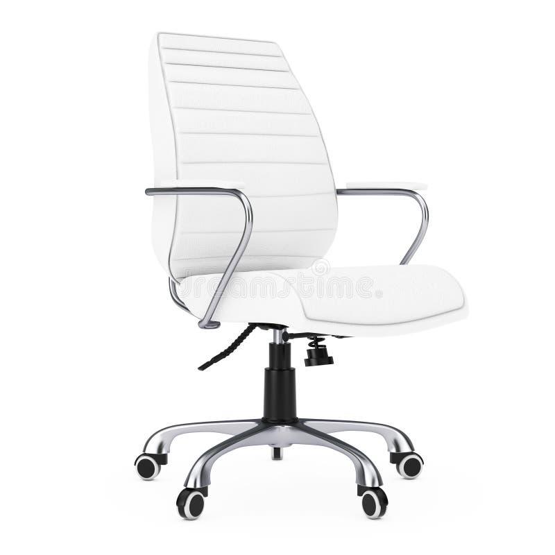 Patron Office Chair de cuir blanc rendu 3d illustration de vecteur