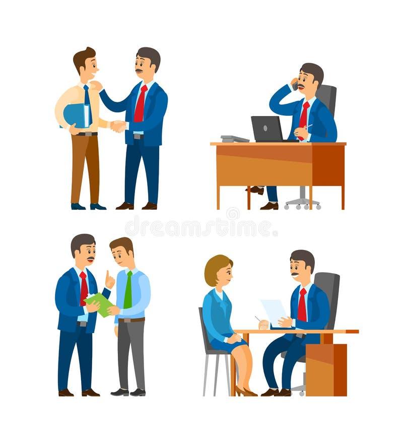 Patron Praising Office Worker, directeur sur l'entrevue illustration libre de droits