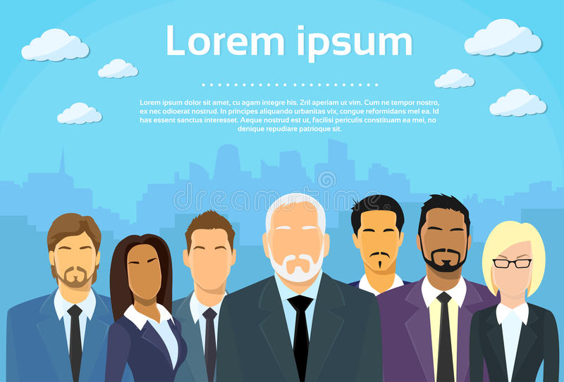 Patron supérieur d'hommes d'affaires avec le groupe des affaires illustration de vecteur