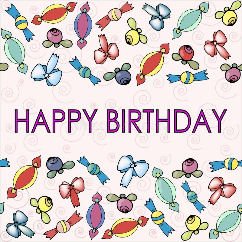 Patronen met bogen, bessen en suikergoed voor verjaardag stock illustratie