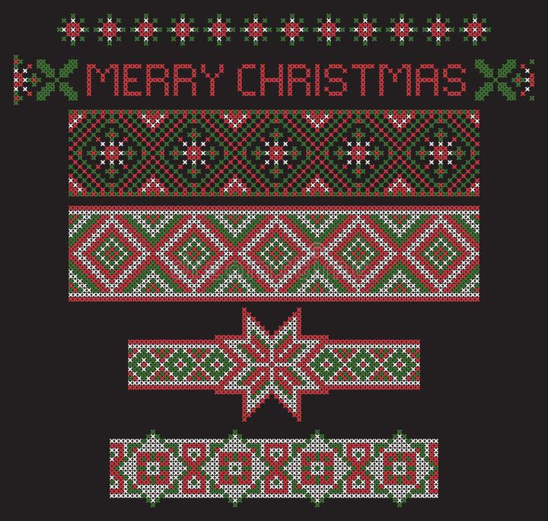 Patronen van het Kerstmis de naadloze die lint, van achtergrond, de imitatie van het dwars-steekborduurwerk worden gescheiden vector illustratie