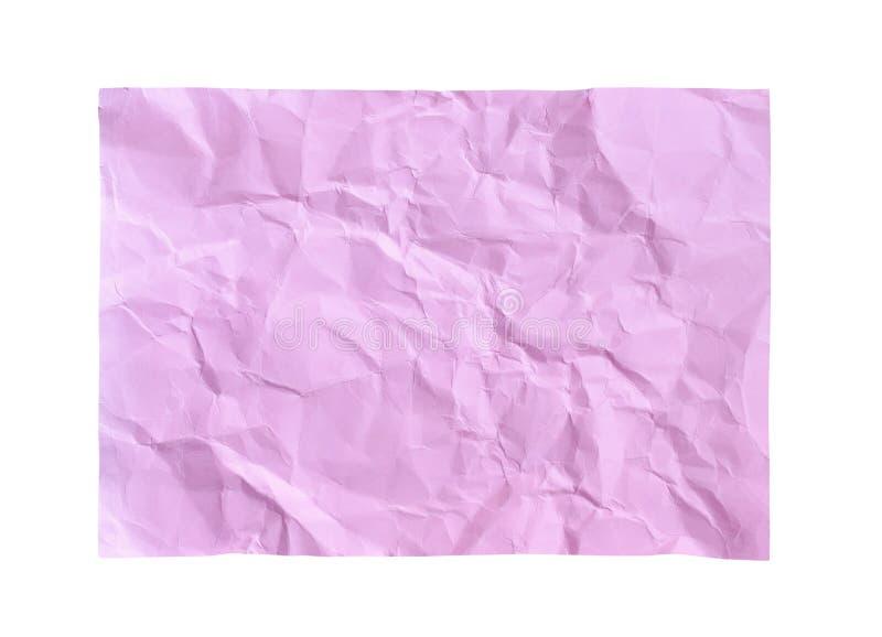 Patronen van lege rimpel lichtrose document textuur abstracte hoogste die mening op witte achtergrond met het knippen van weg wor royalty-vrije stock fotografie