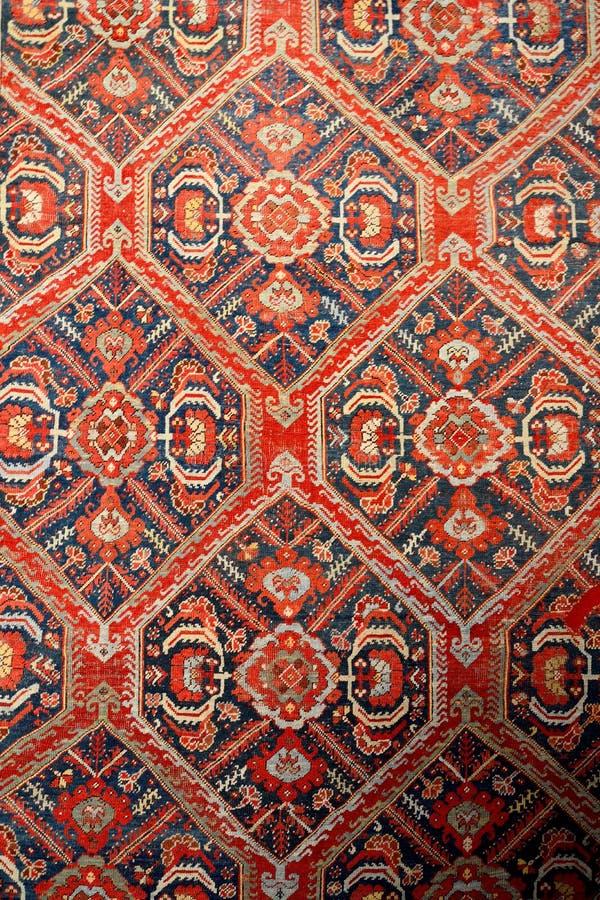 Patronen van typisch Turks tapijt van Usak stock afbeelding