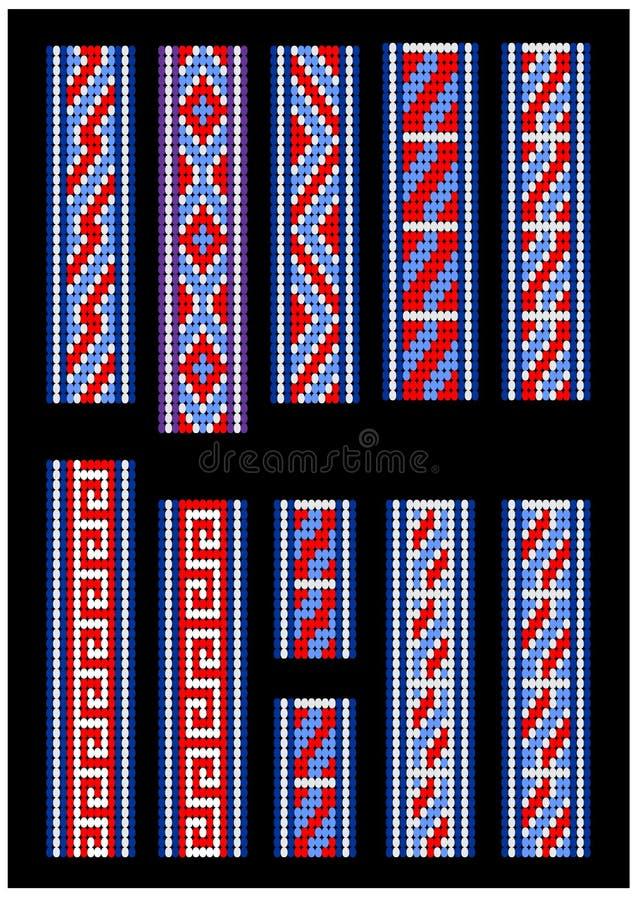 Patronen voor parelarmband Uitstekende patronen voor uw groot ontwerp stock illustratie