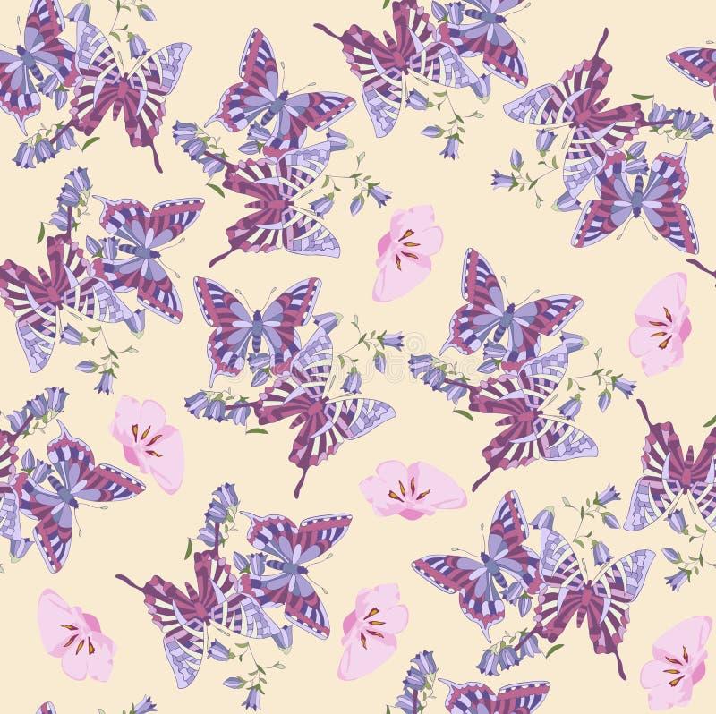 Patroon, abstracte bloem, bloemen, naadloos, vlinder, Behang, decoratie, roze, bloemen, ontwerp, illustratie, aard, wit, vector illustratie