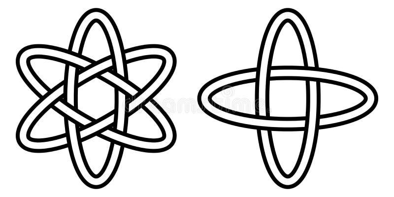 Patroon digitale wetenschap, pictogram van de atoombeweging van elektronen in een baan, het vectorteken van quantumfysica vector illustratie