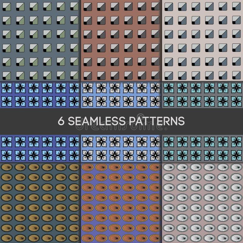 PATROON 12 6 geometrische naadloze patronen stock illustratie