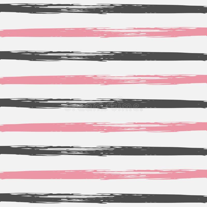 Patroon Gestreepte Hand Geschilderde Achtergrond Retro Zeeman Stripes van Grungehipster Horizontale lijnen naadloos patroon De zo royalty-vrije illustratie