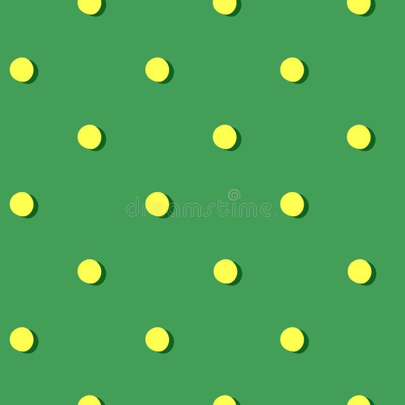 Patroon groene achtergrond met gele cirkels royalty-vrije illustratie