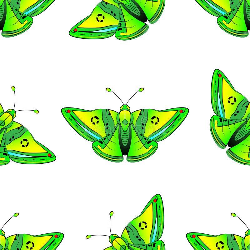 Patroon groene exotische vlinder met gele, blauwe en rode vlekken stock illustratie