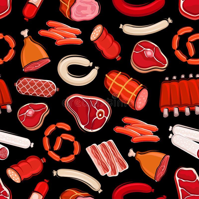 Patroon, het vlees en de worsten van het slachterijvoedsel het naadloze royalty-vrije illustratie