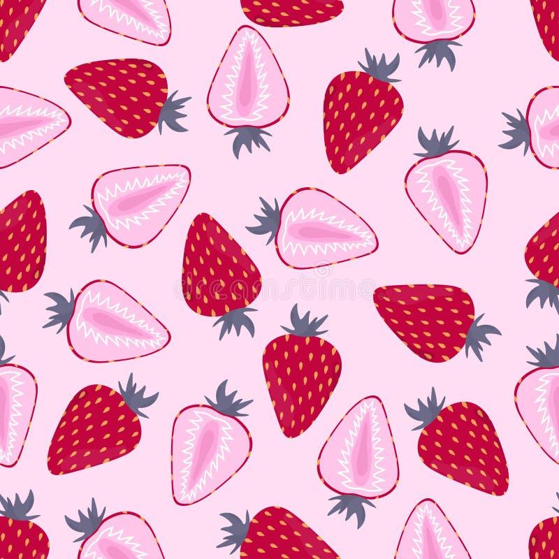Patroon met aardbei op roze stock illustratie