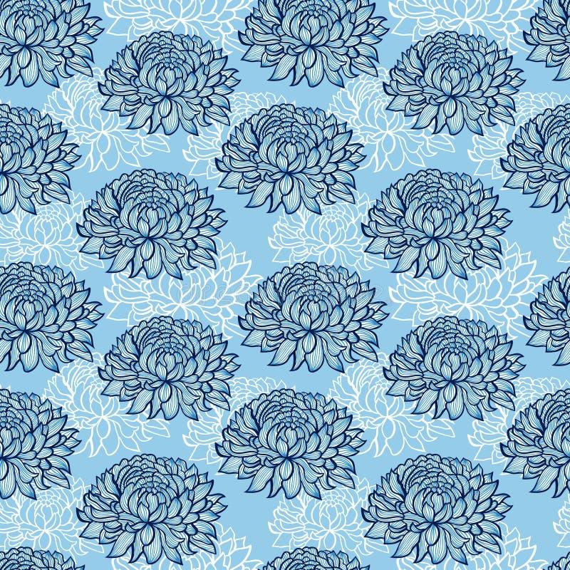 Patroon met abstracte hand getrokken chrysanten vector illustratie