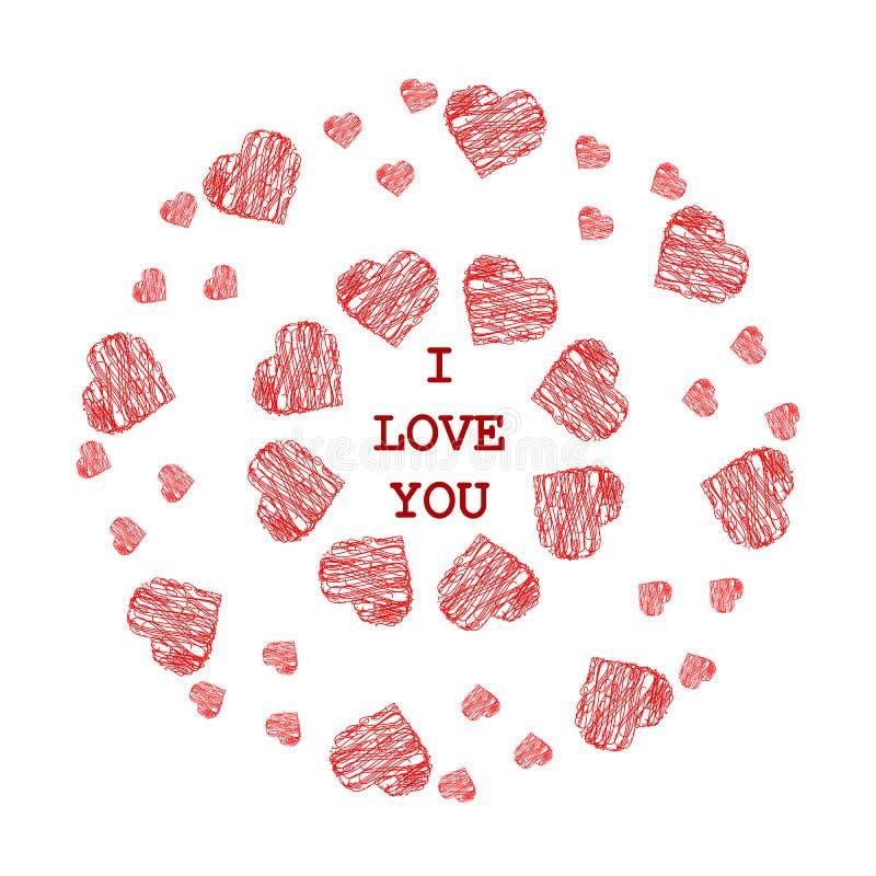 Patroon met abstracte rode harten in etnische stijl voor tekening vector illustratie