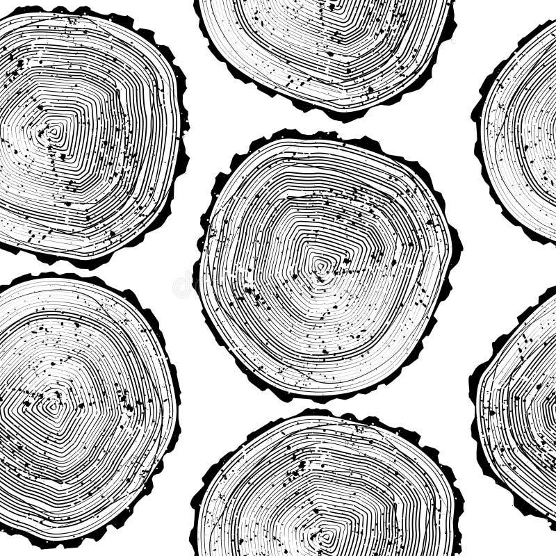 Patroon met achtergrond van boom de zwart-witte ringen Aard houten behang royalty-vrije stock foto