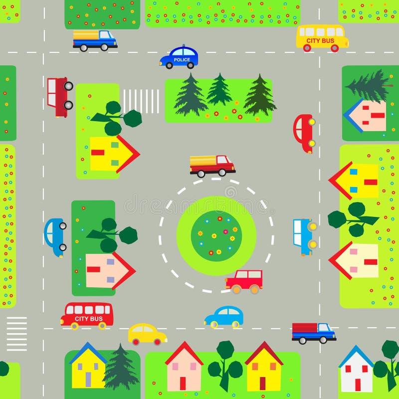 Patroon met auto's en straten stock illustratie