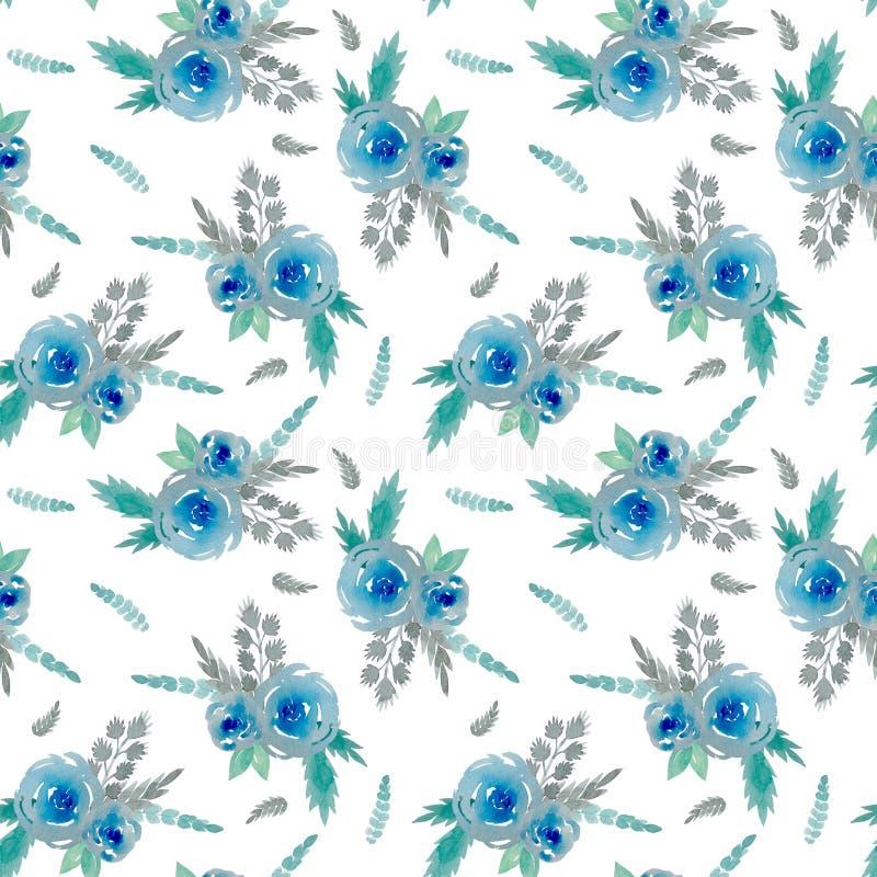 Patroon met blauwe bloemen stock illustratie