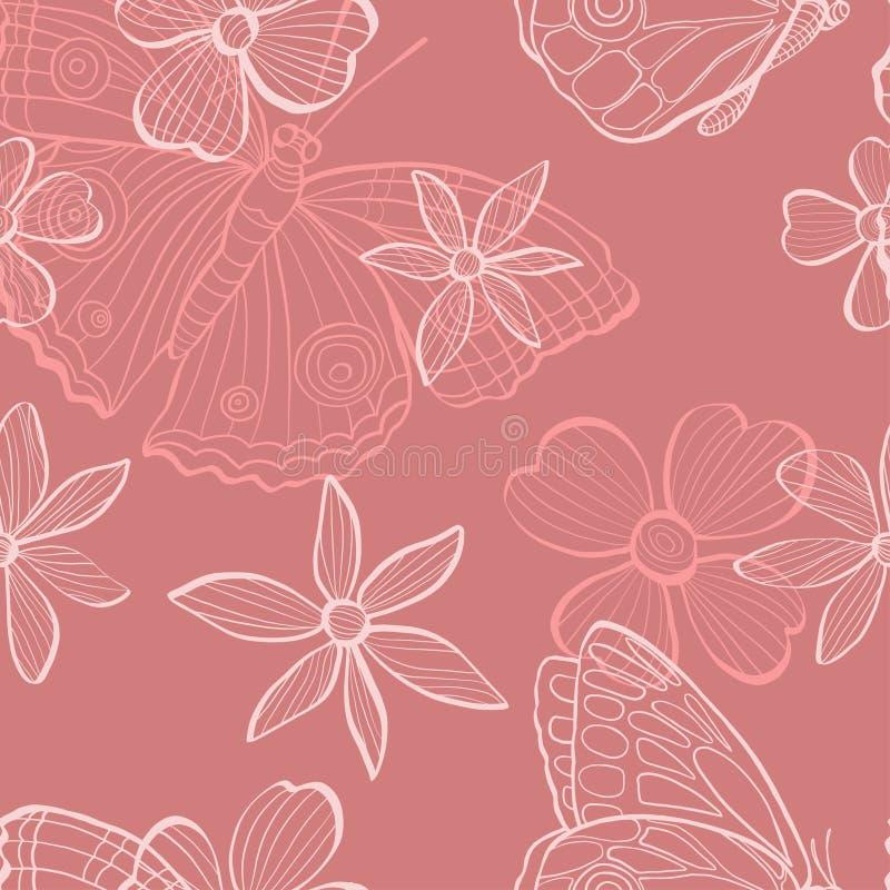 Patroon met bloemen en vlinders in schetsstijl Zwart-wit illustratie op roze achtergrond doodle stock illustratie