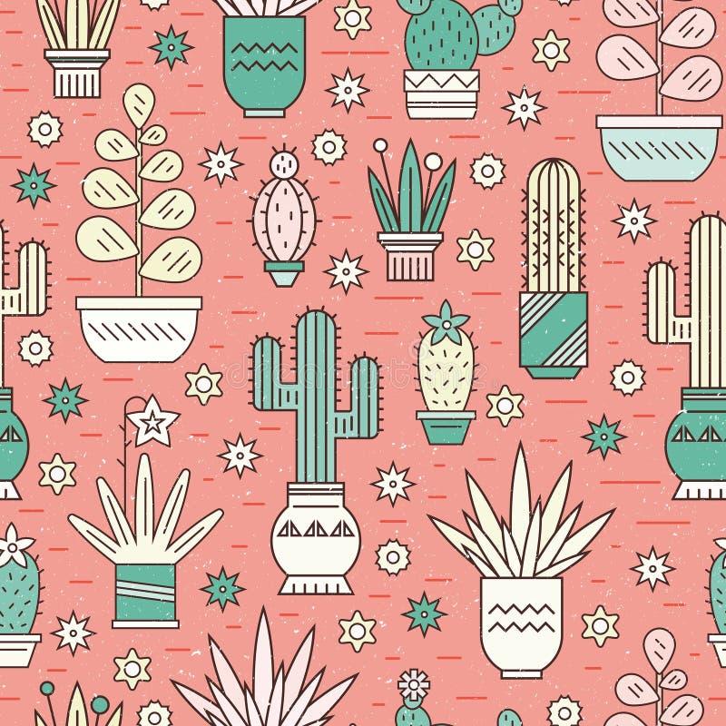 Patroon met cactussen stock illustratie