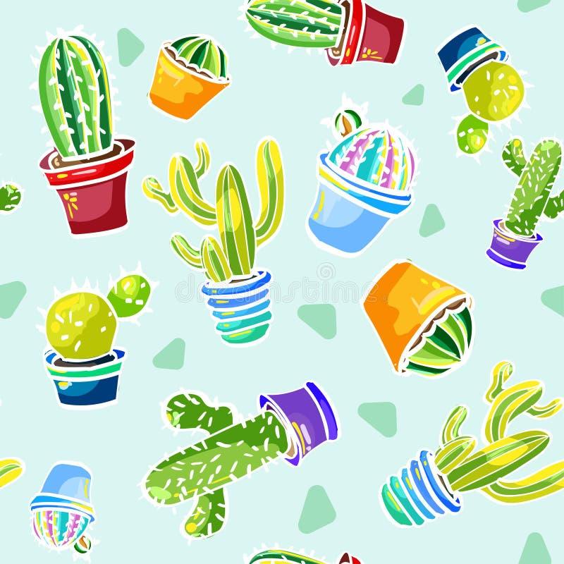 Patroon met cactussen op lichte achtergrond stock afbeelding