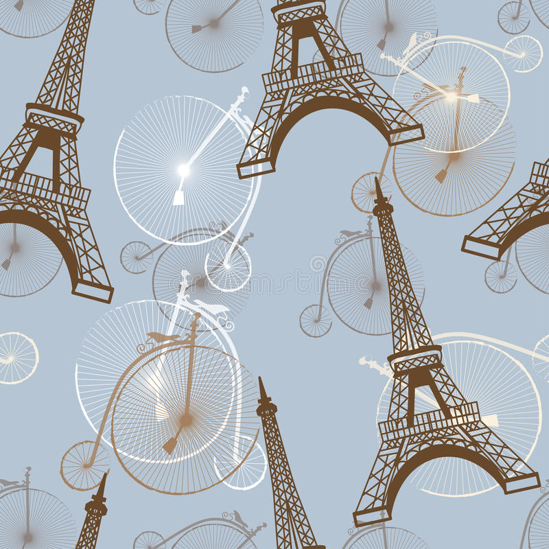 Patroon met de de Toren en fietsen van Eiffel stock illustratie