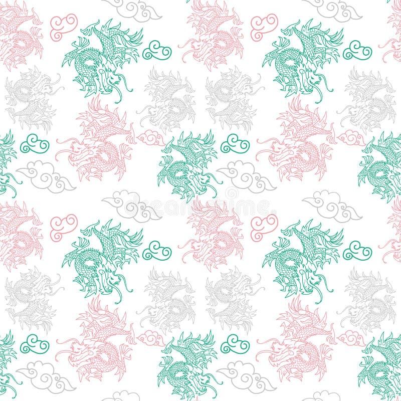 Patroon met de draken van Japan stock illustratie
