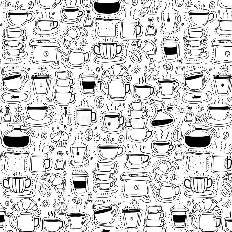 Patroon met de Koffieachtergrond van de Lijnhand Getrokken Krabbel Grappige krabbel vector illustratie