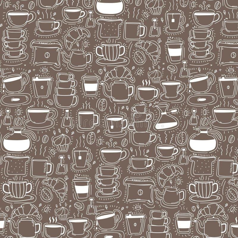 Patroon met de Koffieachtergrond van de Lijnhand Getrokken Krabbel Grappige krabbel royalty-vrije illustratie