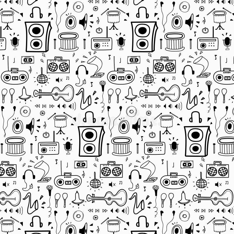 Patroon met de Muziekachtergrond van de Lijnhand Getrokken Krabbel Grappige krabbel vector illustratie
