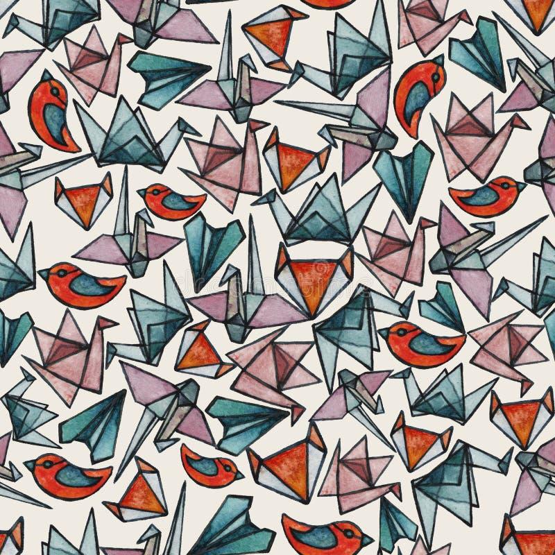 Patroon met de origamistukken van het waterverfgebrandschilderde glas vector illustratie