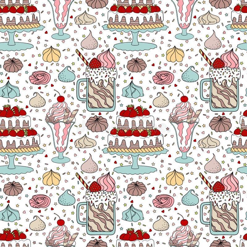 Patroon met dessert vector illustratie