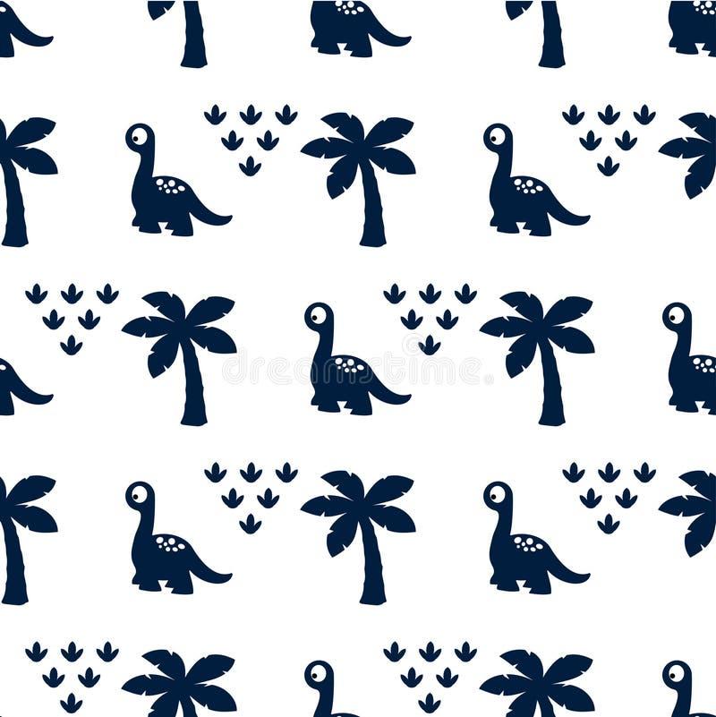 Patroon met dinosaurus en palmen vector illustratie